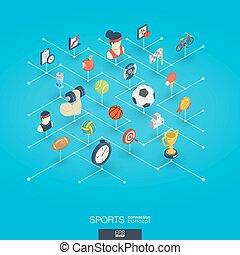 網, 等大, ネットワーク, concept., icons., デジタル, スポーツ, インテグレイテド, 3d