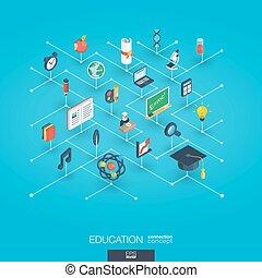 網, 等大, ネットワーク, concept., icons., デジタル, 教育, インテグレイテド, 3d