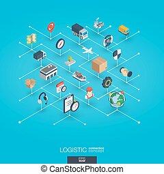網, 等大, ネットワーク, concept., icons., ロジスティックである, デジタル, インテグレイテド, 3d