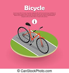 網, 等大, 自転車, banner., デザイン, 道, アイコン