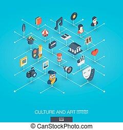 網, 等大, 芸術, ネットワーク, 文化, 相互, icons., インテグレイテド, デジタル, concept., 3d