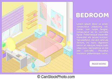 網, 等大, cutaway, サイト, poly, ベクトル, 低い, bedroom., 内部, 旗, illustartion.