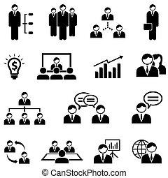 網, 管理, セット, ビジネス, アイコン