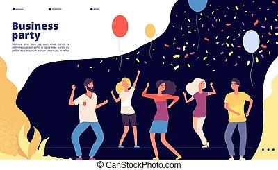 網, 群集, ビジネス, ダンス, 若い, うれしい, landing., 人, ベクトル, デザイン, 祝いなさい, ダンス, パーティー, 企業である, ページ, パーティー, 幸せ