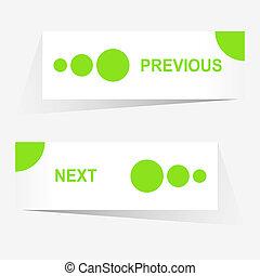 網, 習慣, ボタン, ベクトル, デザイン, 次に, ナビゲーション, 前