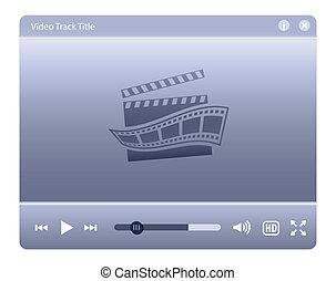 網, 要素, プレーヤー, ビデオ, interface., デザイン