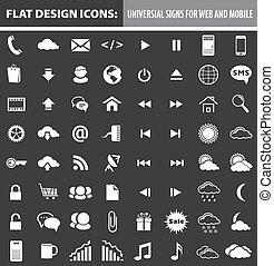 網, 要素, 平ら, モビール, アイコン, ボタン, デザイン