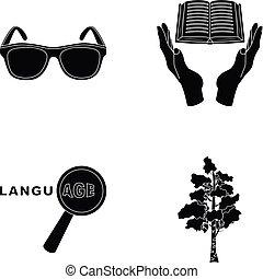 網, 訓練, セット, アイコン, collection., ∥あるいは∥, style., 黒い衣類, アイコン, ロシア, 図書館