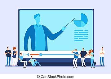 網, 訓練, 概念, インターネット, コース, education., ベクトル, ビデオ, チュートリアル, オンラインで