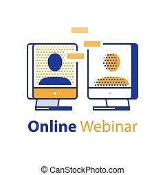 網, 話し, 人々, 概念, 媒体, インターネット, webinar, コミュニケーション, セミナー, 遠い, ミーティング, 社会, オンラインで, 2, 勉強