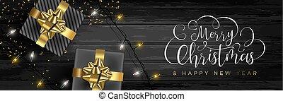 網, 贈り物, 木, 背景, 旗, クリスマス