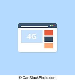 網, 選択, 連結しなさい, インターネット, 4g, ブラウザ