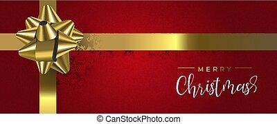 網, 金, 贈り物, 赤, 旗, クリスマス, リボン