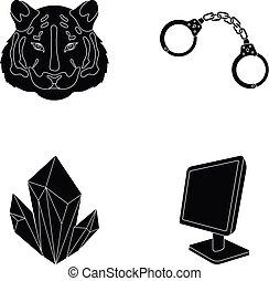 網, 鉱山, セット, アイコン, collection., 動物園, 黒, 技術, ∥あるいは∥, style.jurisprudence, アイコン