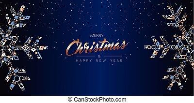 網, 雪片, 贅沢, 旗, クリスマスカード