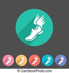 網, 靴, 平ら, シンボル, 印, 動くこと, ロゴ, ラベル, 翼, アイコン
