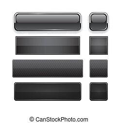 網, 黒, 現代, buttons., high-detailed
