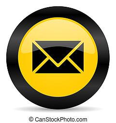 網, 黒, 電子メール, 黄色, アイコン