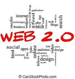 網, 2.0, 単語, 雲, 概念, 中に, 赤, &, 黒