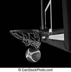 網, bac, バスケットボール, 灰色, ボール