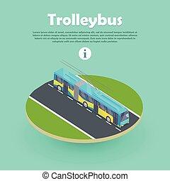 網, banner., trolleybus, 平ら, 部分, 道, 3d