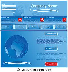 網, blue-vector, デザイン, サイト, templat