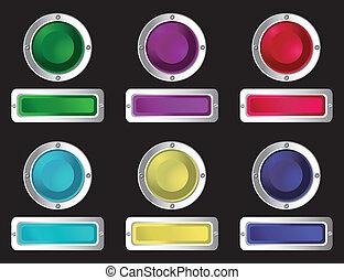 網, buttons.