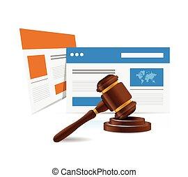 網, concept., 法律, 法的, オンラインで