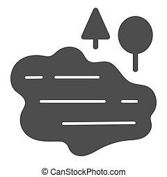 網, eps, ベクトル, glyph, 湖, 自然, 固体, スタイル, イラスト, icon., 10., app., 設計された, 木, 水, 隔離された, デザイン, white.