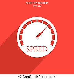 網, icon., ベクトル, 速度計