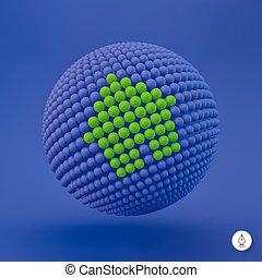 網, icon., 3d, ベクトル, 印。, デザイン, element., illustration., 家