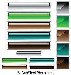 網, scaleable, ボタン, 分類される, 光沢がある, 色, 正方形, 長方形