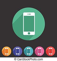網, smartphone, 平ら, シンボル, 印, 電話, ロゴ, ラベル, アイコン