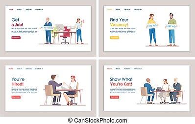 網, web ページ, 雇用, ページ, 平ら, テンプレート, ウェブサイト, インターフェイス, layout...