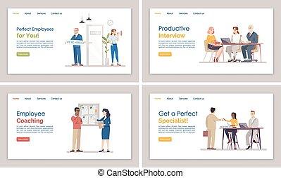 網, web ページ, 雇用, ページ, 平ら, 求人, テンプレート, ウェブサイト, インターフェイス, ...