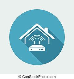 網, wi - fi, -, ベクトル, 家, モデム, アイコン