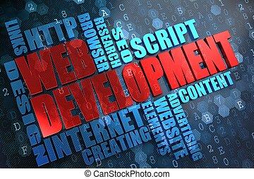 網, wordcloud, development., concept.