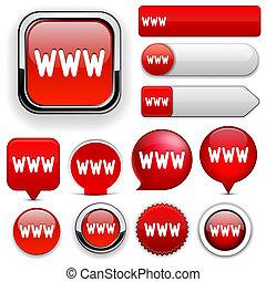 網, www, high-detailed, collection., ボタン
