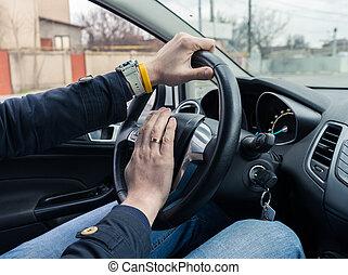 緊張, 人, 駕駛員, 推, 汽車角