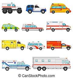 緊急事件車輛, 矢量, 救護車, 運輸, 以及, 服務, 卡車, 插圖, 集合, ......的, 援救, cmedical, 汽車, 以及, 小型巴士, 或者, 搬運車, 被隔离, 在懷特上, 背景
