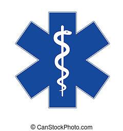 緊急事件, 星, 藍色, 在懷特上, 背景。