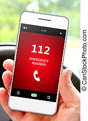 緊急事件, 流動, 數字, 手, 電話, 藏品, 112