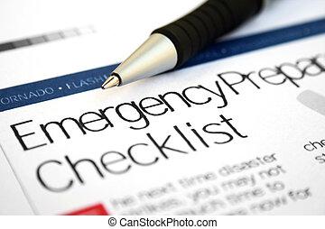 緊急事件, 清單