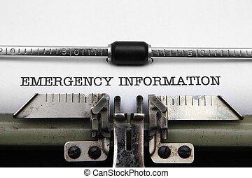緊急事件, 資訊