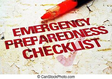緊急事態, チェックリスト