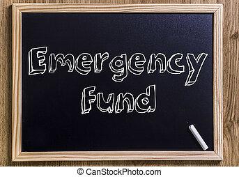 緊急事態, テキスト, 概説された,  -, 資金, 黒板, 新しい, 3D
