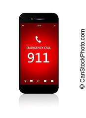 緊急事態, モビール, 上に, 数, 隔離された, 電話, 白, 911