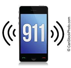 緊急事態, 上に, 数, イラスト, デザイン, 呼出し, 白, 911