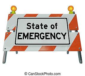 緊急事態, 州, 建設, sig, 言葉, バリケード, 警告, 道