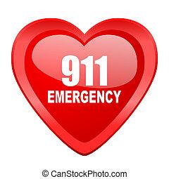 緊急事態, 心, 911, 数, 網, アイコン, 赤, グロッシー, バレンタイン